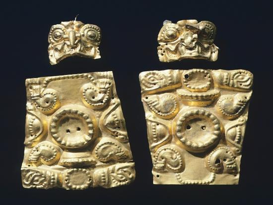 Gold Embossed Plaque Originating from La Tolita--Giclee Print