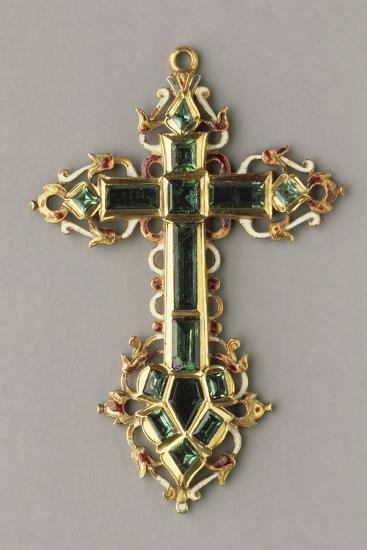 Gold, Enamels and Emeralds Cross--Giclee Print