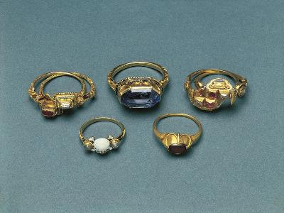 Gold, Enamels and Precious Stones Memento Mori Rings--Giclee Print