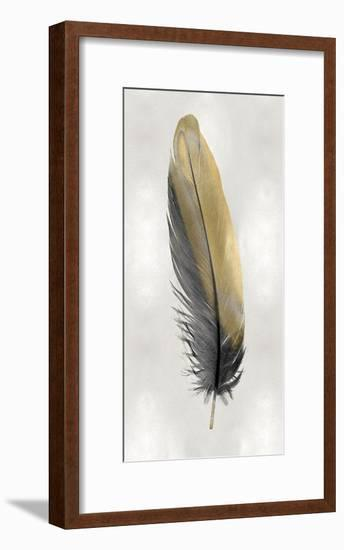 Gold Feather on Silver I-Julia Bosco-Framed Giclee Print
