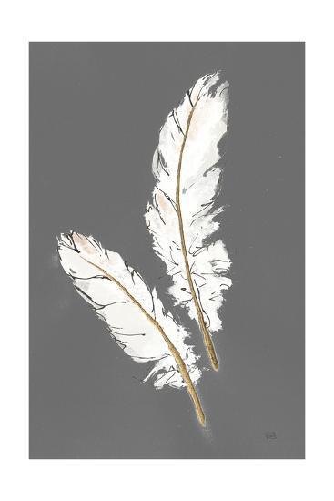 Gold Feathers I on Grey-Chris Paschke-Art Print