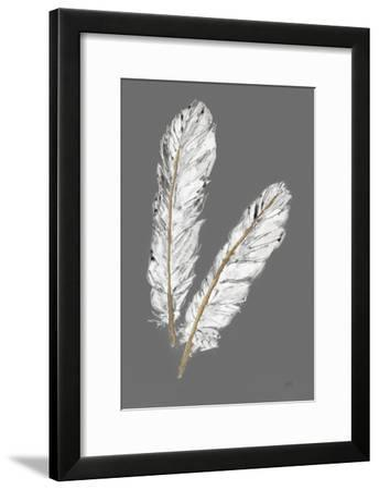 Gold Feathers IV on Grey-Chris Paschke-Framed Art Print