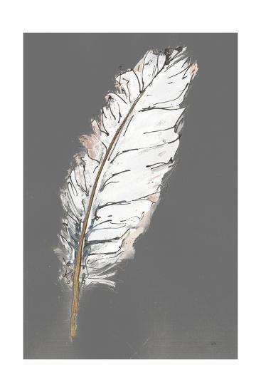 Gold Feathers VII on Grey-Chris Paschke-Art Print