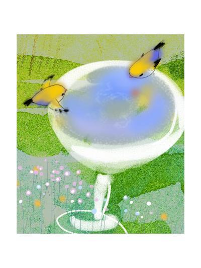 Gold Finches at Birdbath--Art Print