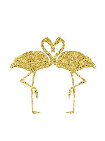 Gold Flamingos-Peach & Gold-Art Print
