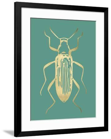Gold Foil Beetle I on Emerald-Renée Stramel-Framed Art Print
