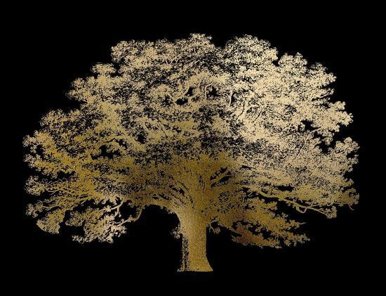 Gold Foil Elephant Tree on Black-Vision Studio-Art Print