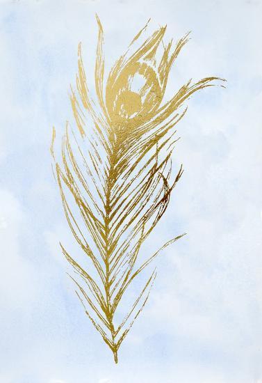 Gold Foil Feather I on Blue-Vision Studio-Art Print