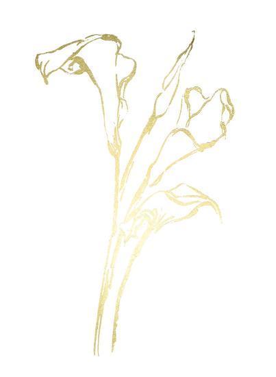 Gold Foil Floral Ink Study IV-Ethan Harper-Art Print