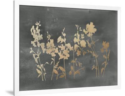 Gold Foil Flower Field on Black-Vision Studio-Framed Art Print