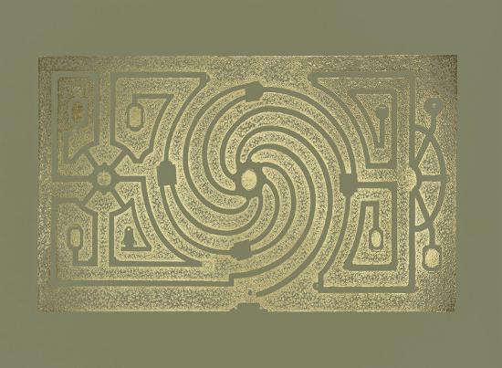 Gold Foil Garden Plan III on Mid Green-DeZallier d'Argenville-Art Print