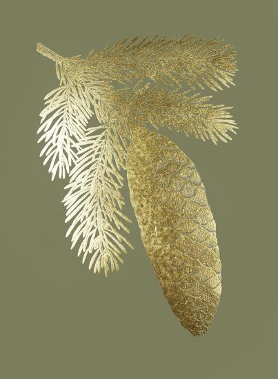 Gold Foil Pine Cones IV on Mid Green-Vision Studio-Art Print