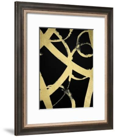 Gold Foil Ripple I on Black-Grace Popp-Framed Art Print