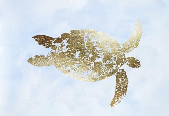Gold Foil Sea Turtle I on Blue Wash-Grace Popp-Art Print
