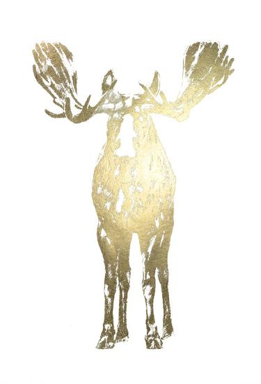 Gold Foil Standing Moose-Ethan Harper-Art Print