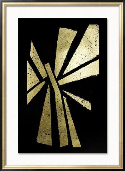 Gold Foil Symbiotic IV on Black-June Erica Vess-Framed Art Print