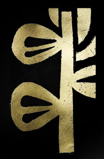 Gold Foil Symbiotic V on Black-June Erica Vess-Art Print