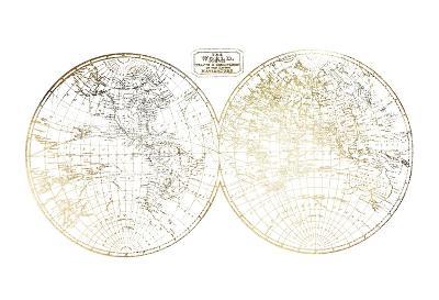 Gold Foil World in Hemispheres-Vision Studio-Art Print