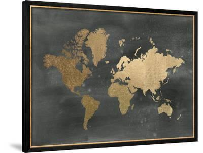 Gold foil world map on black framed art print by jennifer goldberger gold foil world map on black framed art print by jennifer goldberger the new art gumiabroncs Gallery