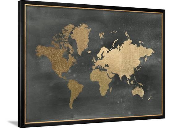 Gold Foil World Map Framed.Gold Foil World Map On Black Framed Art Print By Jennifer Goldberger