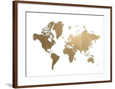 Gold Foil World Map-Jennifer Goldberger-Framed Art Print