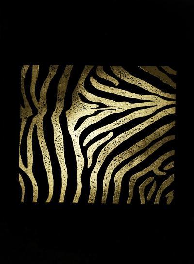 Gold Foil Zebra Pattern on Black-Vision Studio-Art Print