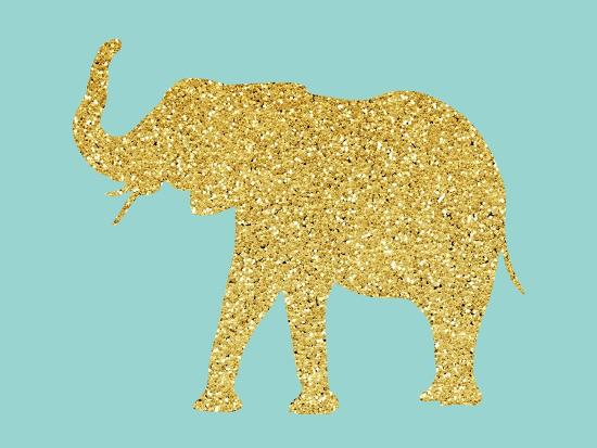 Gold Glitter Elephant-Peach & Gold-Art Print