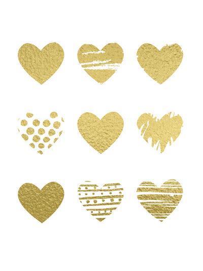 Gold Hearts-Peach & Gold-Art Print