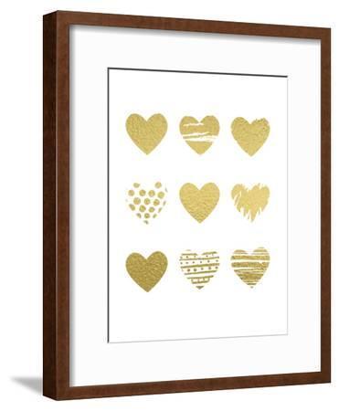 Gold Hearts-Peach & Gold-Framed Art Print