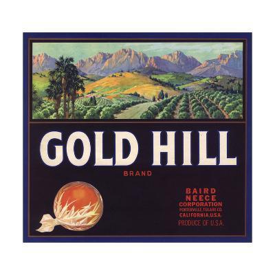 Gold Hill Brand - Porterville, California - Citrus Crate Label-Lantern Press-Art Print