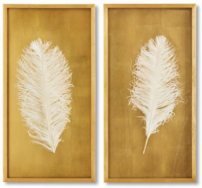 Gold Leaf White Feathers Set