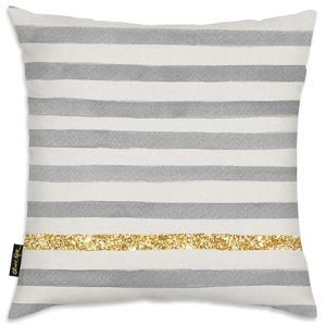 Gold Line Stripes Throw Pillow