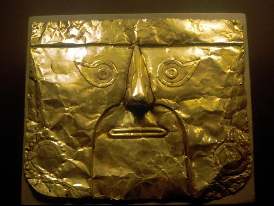 Gold mask, Chimu people, Peru, 1100-1500. Artist: Unknown-Unknown-Giclee Print