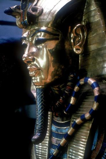 Gold mask of Tutankhamun on the second coffin. Artist: Unknown-Unknown-Giclee Print