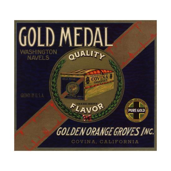 Gold Medal Brand - Covina, California - Citrus Crate Label-Lantern Press-Art Print