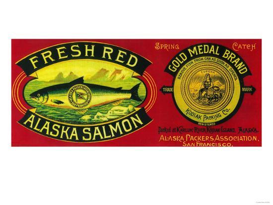 Gold Medal Salmon Can Label - Kodiak Island, AK-Lantern Press-Art Print