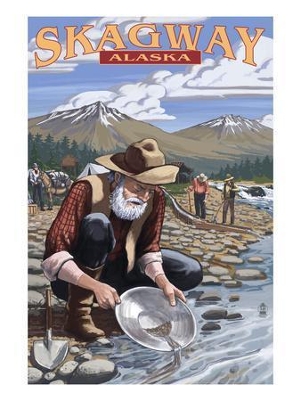 Gold Miners - Skagway, Alaska-Lantern Press-Art Print