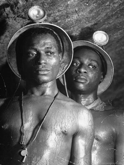 Gold Miners, Wearing Helmets and Perspiring Heavily, Standing in Robinson Deep Diamond Mine Tunnel-Margaret Bourke-White-Photographic Print