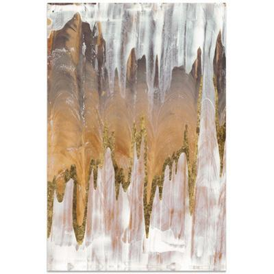 Gold Mountains A - Free Floating Tempered Glass Panel Graphic Art