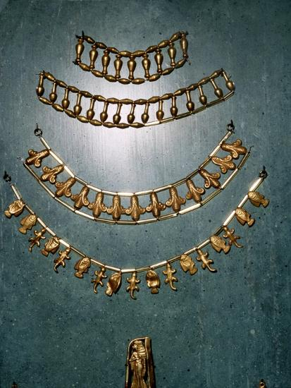 Gold necklaces and bracelets, Ancient Egyptian, 1st millennium BC-Unknown-Giclee Print