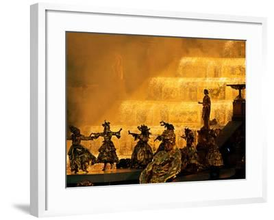 Gold-Painted Dancers Perform Amid Golden Statues--Framed Photographic Print
