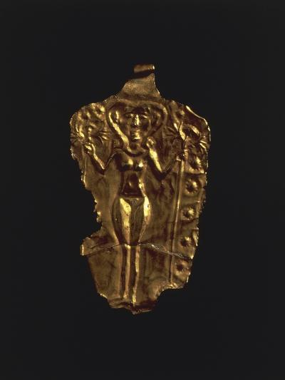 Gold Pendant with Stylized Figure of a Goddess, Artefact from Ugarit--Photographic Print