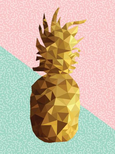 Gold Pineapple with Retro Shapes-cienpies-Art Print