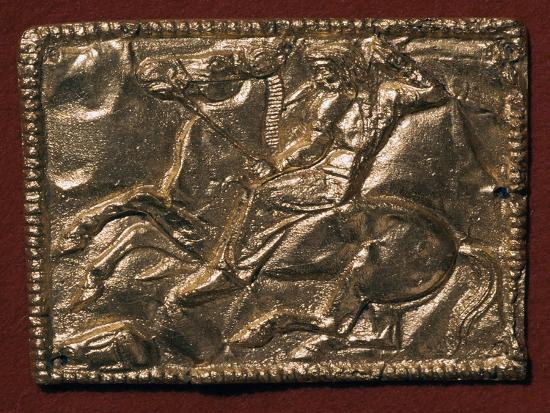 Gold plaque showing a Scythian hunter, 5th century BC Artist: Unknown-Unknown-Giclee Print