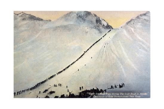 Gold Prospectors Crossing Chilkoot Pass--Giclee Print
