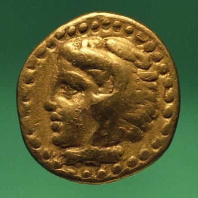 Gold Quarter Stater of Philip II with Male Profile, Recto, Greek Coins BC--Giclee Print