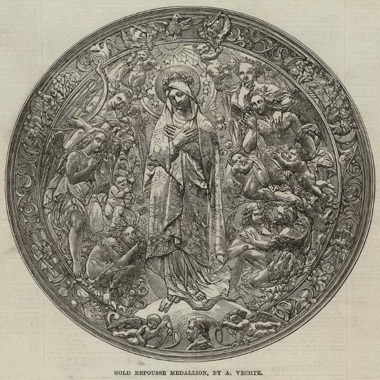 Gold Repousse Medallion, by a Vechte--Giclee Print