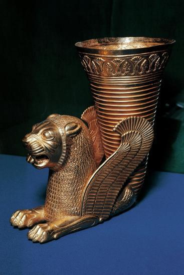 Gold Rhyton in the Shape of Winged Lion and Decorated with Lotus Flowers--Giclee Print