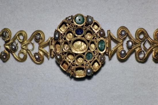 Gold Roman bracelet set with sapphires, emeralds, and pearls, 3rd century. Artist: Unknown-Unknown-Giclee Print