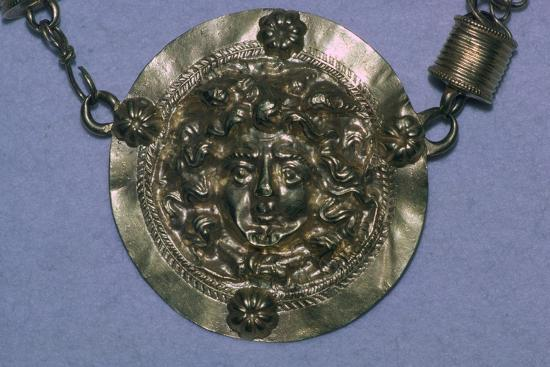 Gold Roman Gorgon's head pendant. Artist: Unknown-Unknown-Giclee Print